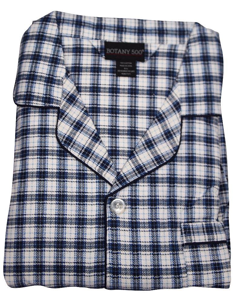 Botony 500 Mens Big Long Sleeve Long Leg Flannel Cotton Sleep Lounge Pajama Set