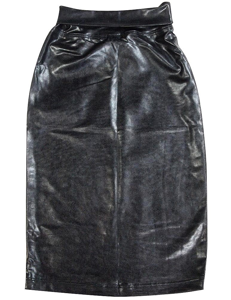 So Nikki Faux Leather Tube Skirt with Rollover Elastic Waistband