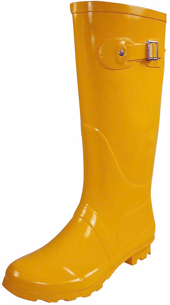 Norty Womens Rain Boots Rubber Solid Color Hi Calf Height Wellies Snow Rainboot