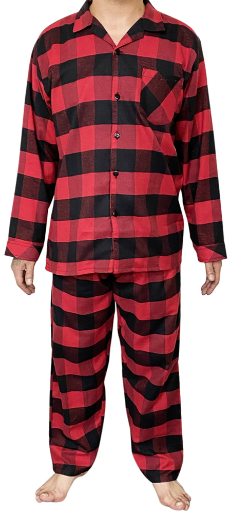 Norty Mens Cotton Yarn Flannel Pajama Lounge Sleep Sets
