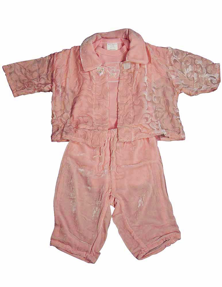 Little Giraffe Baby Newborn Girls 3 Piece Crushed Velour Pant Set