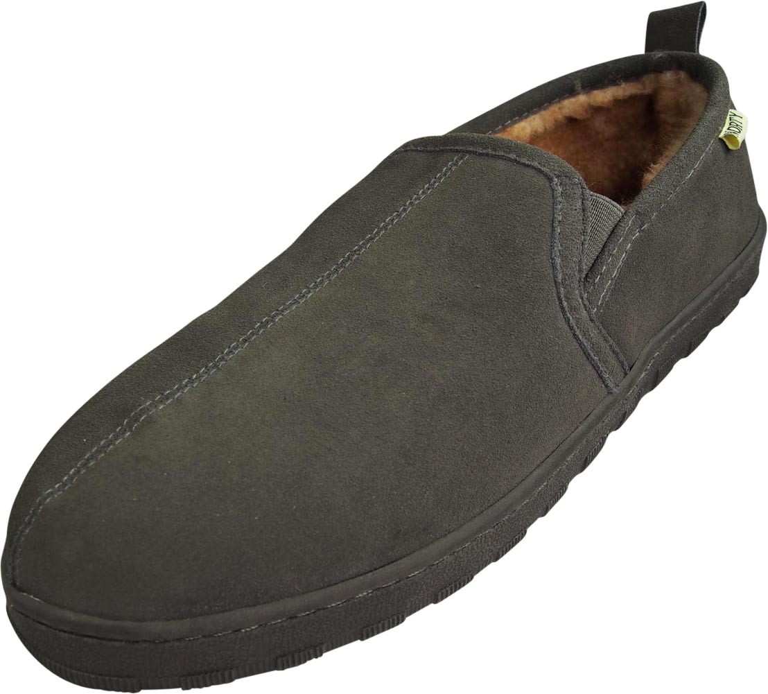 11ad78a09497d Norty - Mens Suede Leather Twin Gore SLIPPER Grey 39867-11dmus | eBay